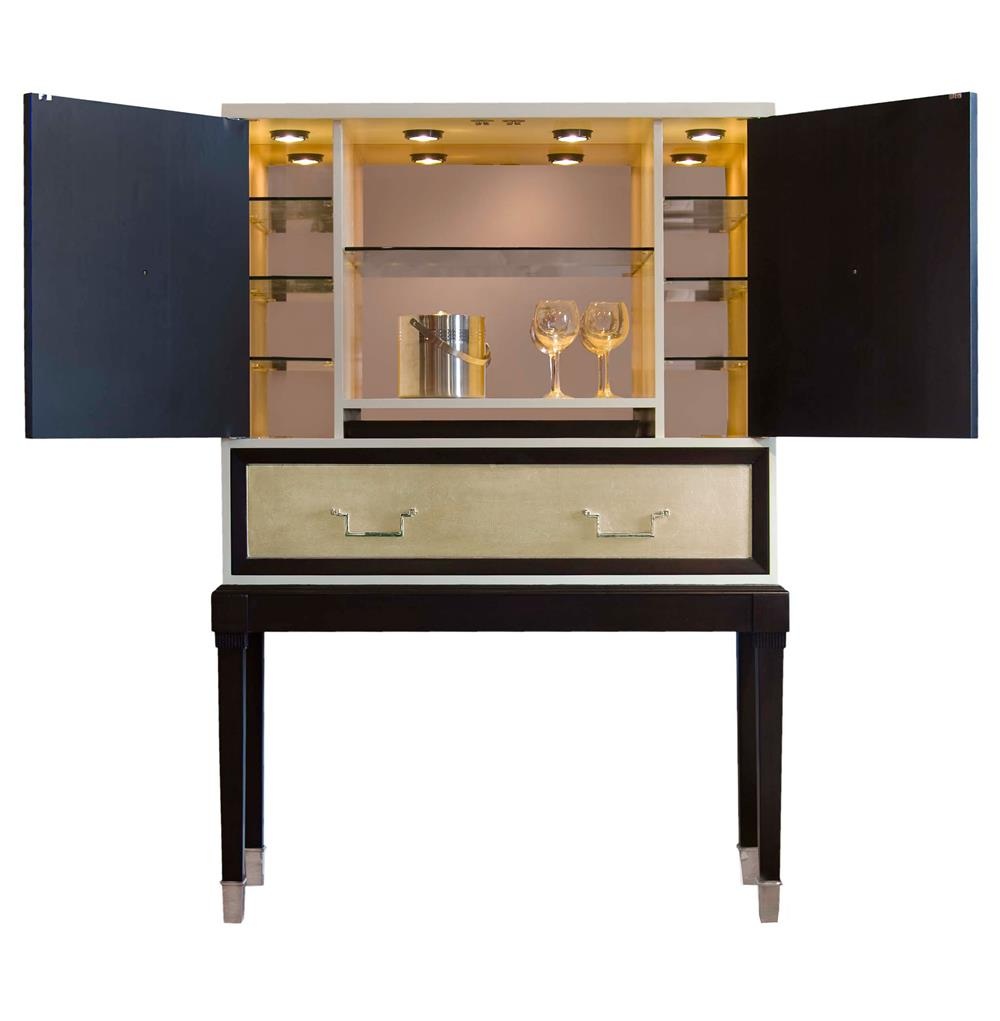 sadie hollywood regency espresso champagne leaf bar cabinet view full size