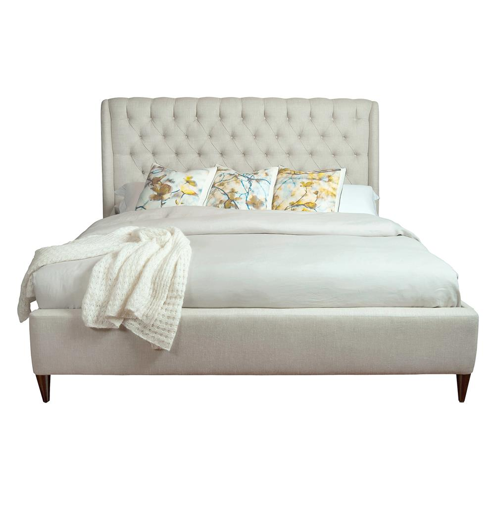 Kara Hollywood Regency Button Tufted Fawn Linen King Bed