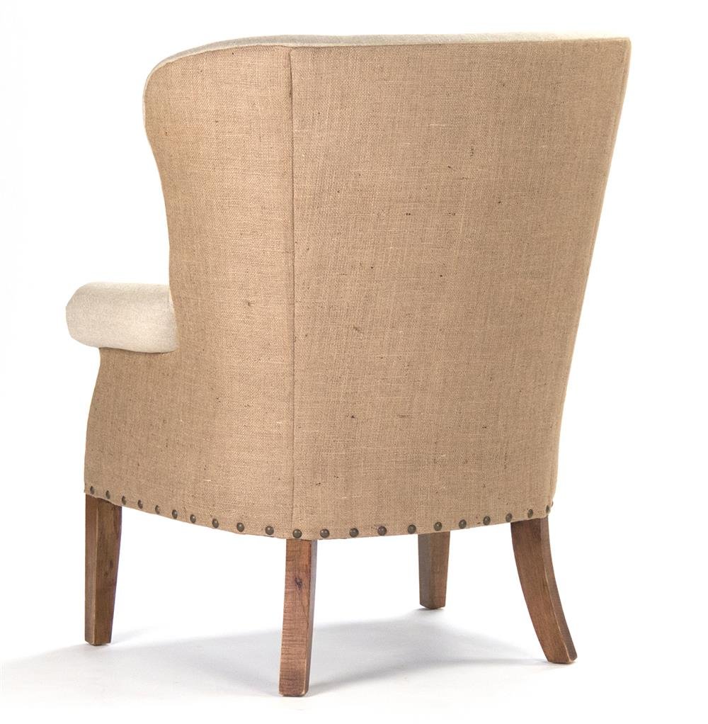 Morten Masculine French Linen Burlap Wing Back Accent Armchair