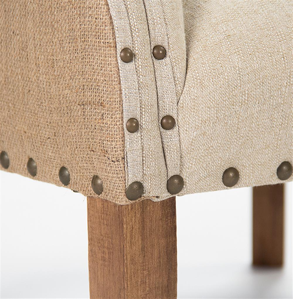 ... Morten Masculine French Linen Burlap Wing Back Accent Armchair | Kathy  Kuo Home