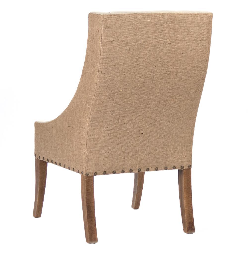 Beautiful Shipley French Country Burlap Two Tone Dining Arm Chair | Kathy Kuo Home