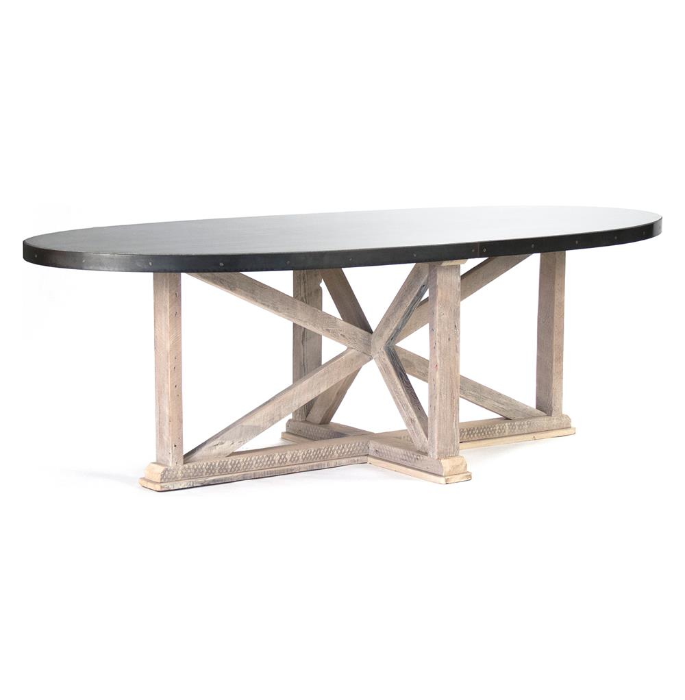 Albertine Zinc Top Solid White Washed Wood Dining Table