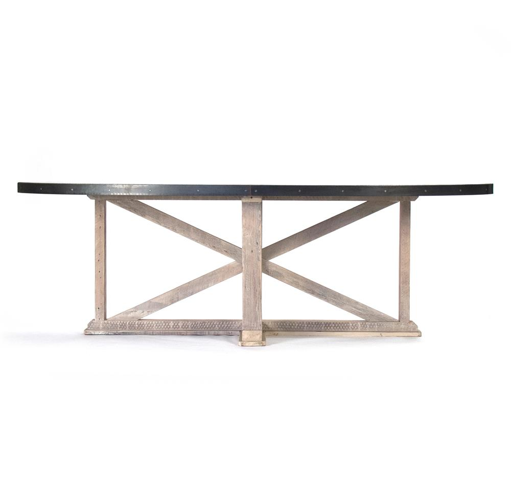 Albertine zinc top solid white washed wood dining table for Table exterieur zinc