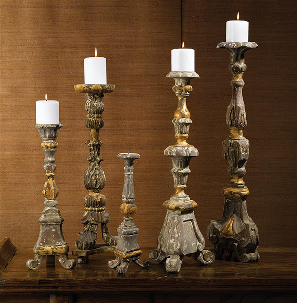 French Country Renaissance Carved Wood Antique Gold Candle Holder Set Of 5
