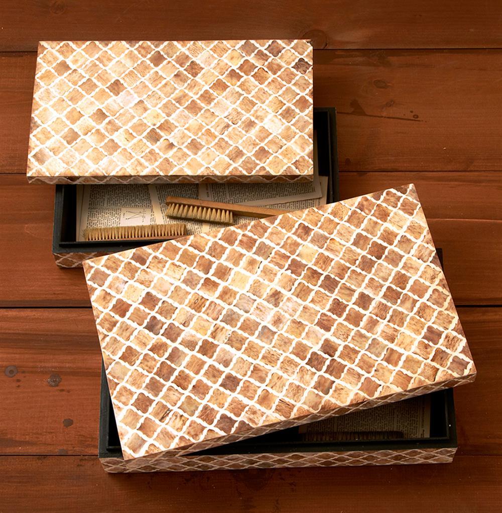 Decorative Bone Boxes : Zanzibar modern rustic bone wood decorative boxes kathy