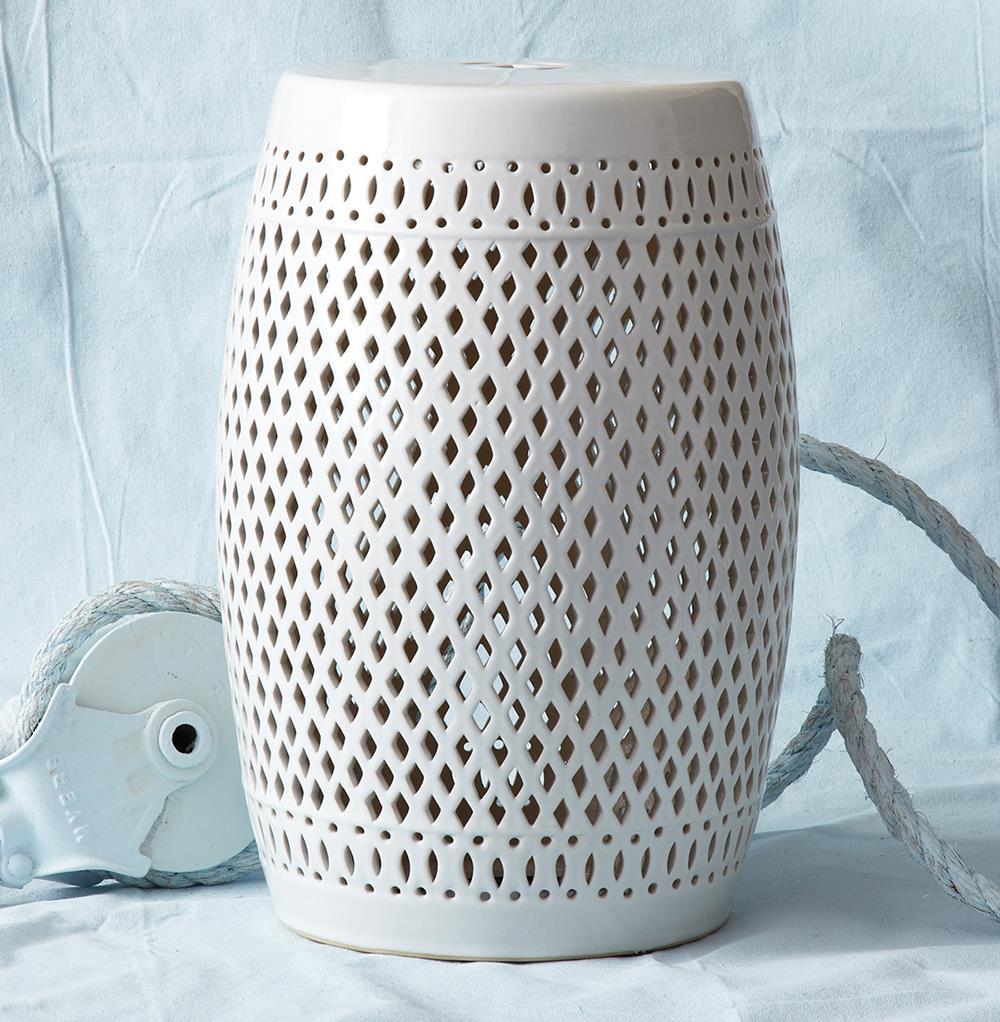 Granada coastal beach style pierced white garden seat stool for White garden stool