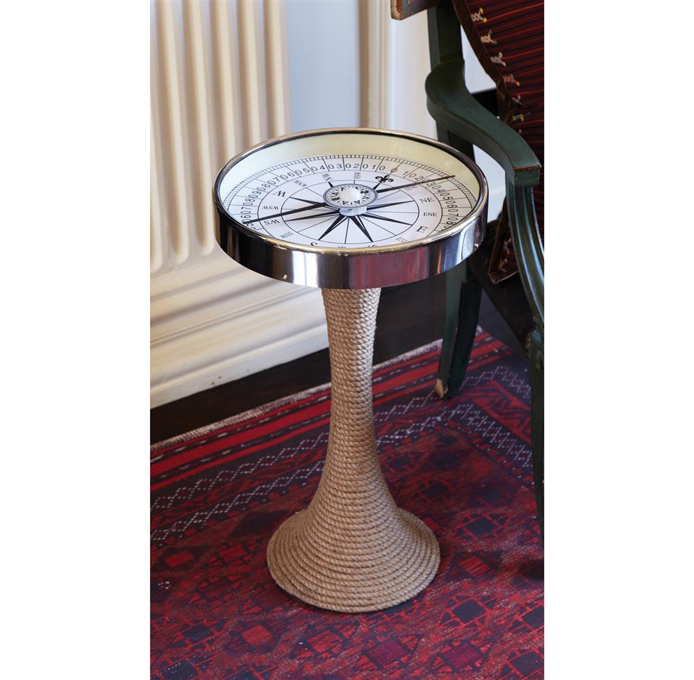 5550 Nautical Glass and Rope Coastal Style pass Accent Side End Table