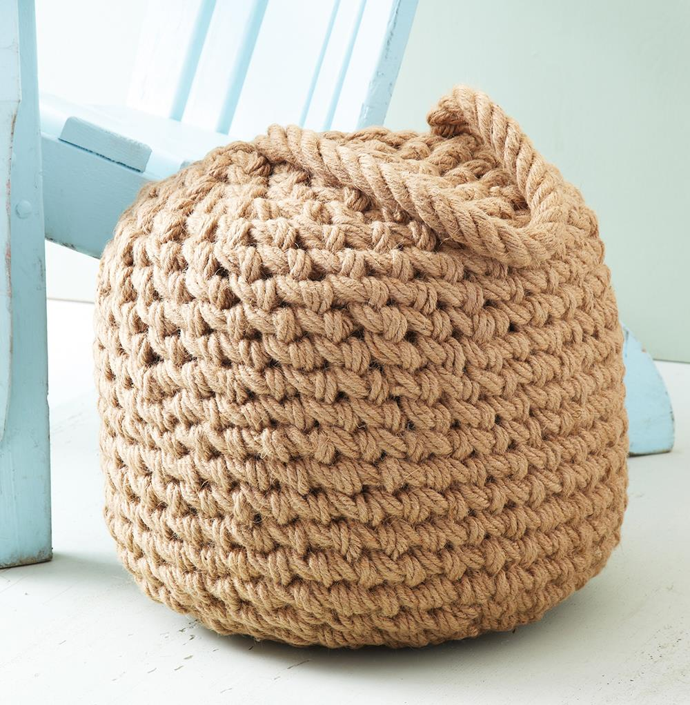 clippers bay coastal beach raw jute buoy pouf ottoman. Black Bedroom Furniture Sets. Home Design Ideas