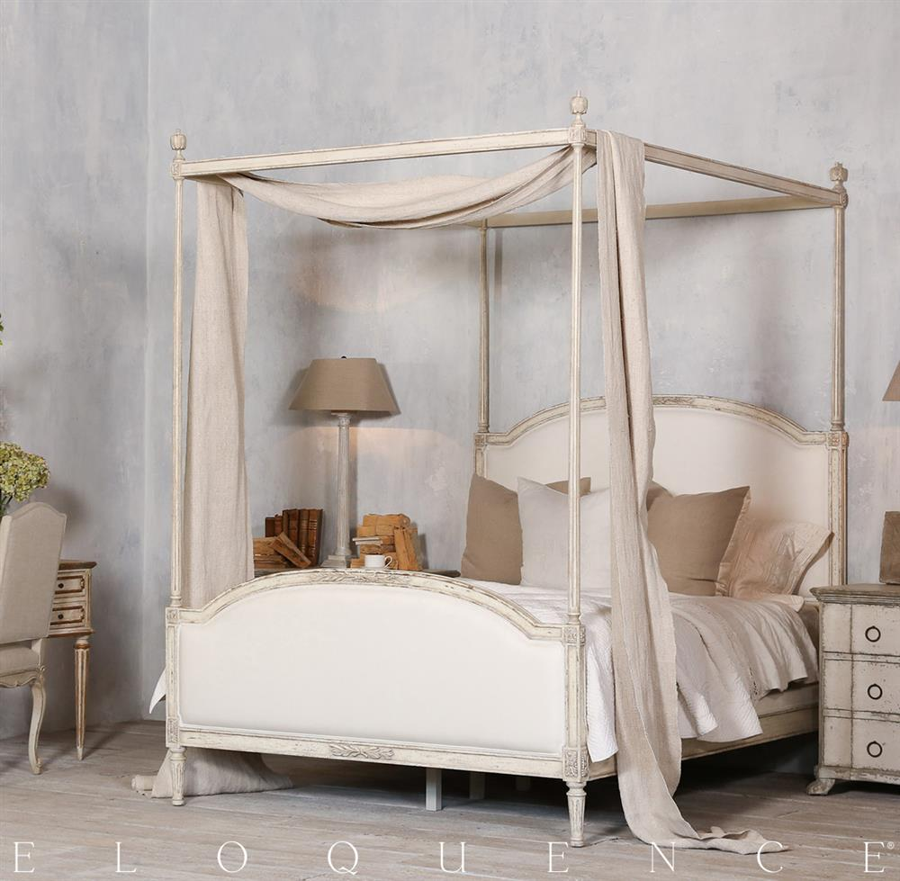 Eloquence Dauphine Queen Canopy Bed in Weathered White | Kathy Kuo Home & Eloquence Dauphine Queen Canopy Bed in Weathered White | Kathy Kuo ...