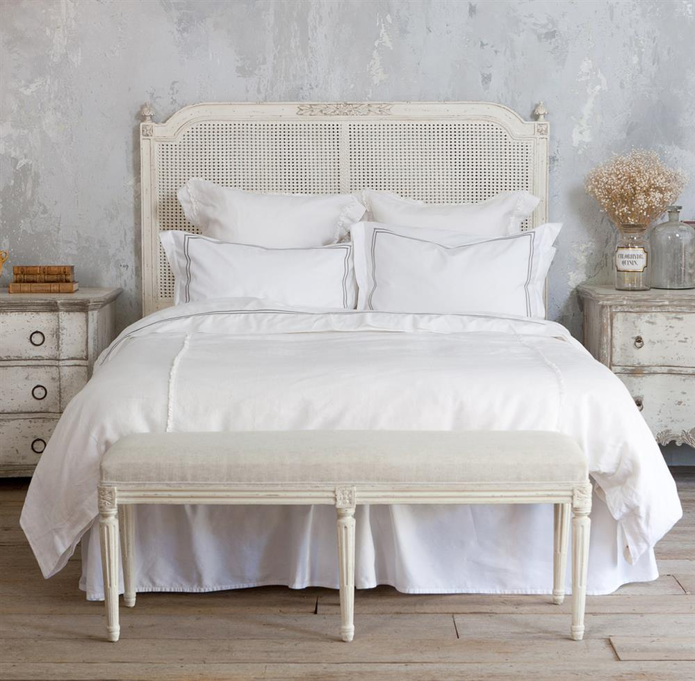 ... Country Antique White Elegant Caned Queen Headboard  Kathy Kuo Home