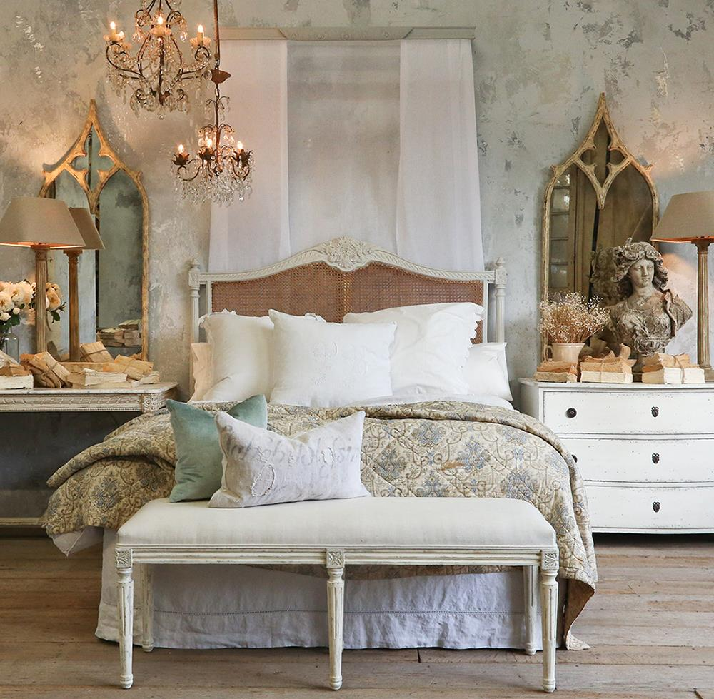 Louis Xvi French Country Oyster Natural Cane Queen Headboard