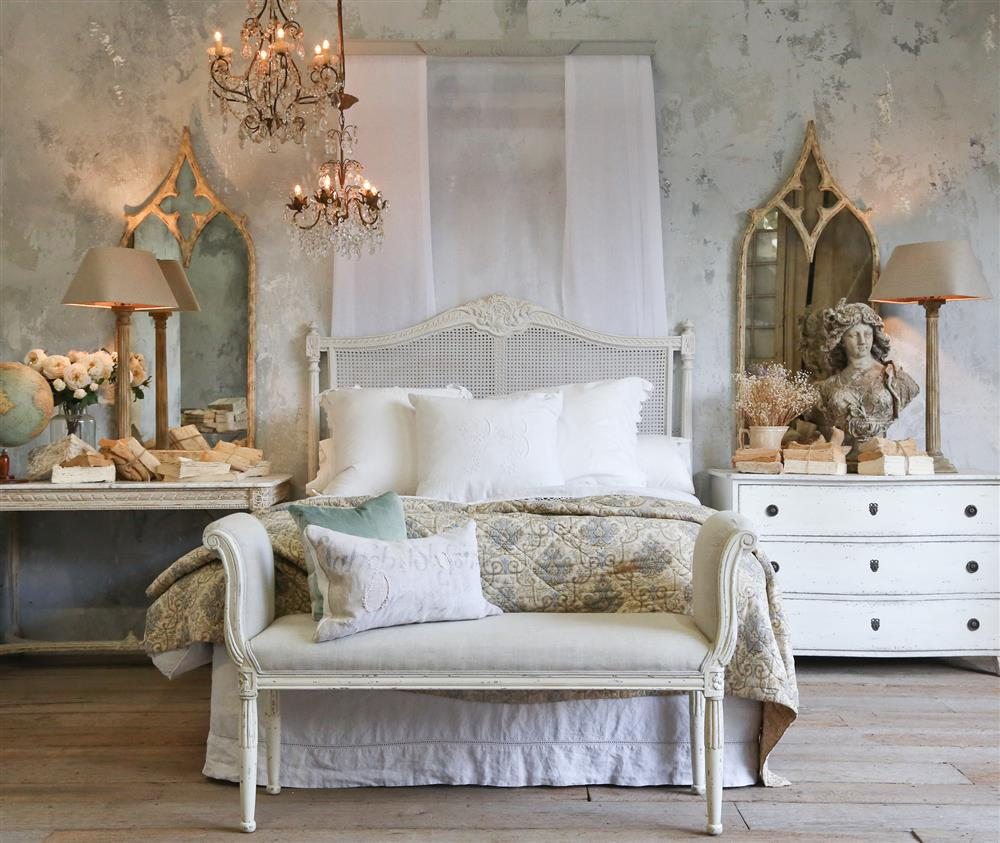 Louis xvi bedroom furniture - Louis Xvi French Country Natural White Painted Cane Headboard Queen Kathy Kuo Home