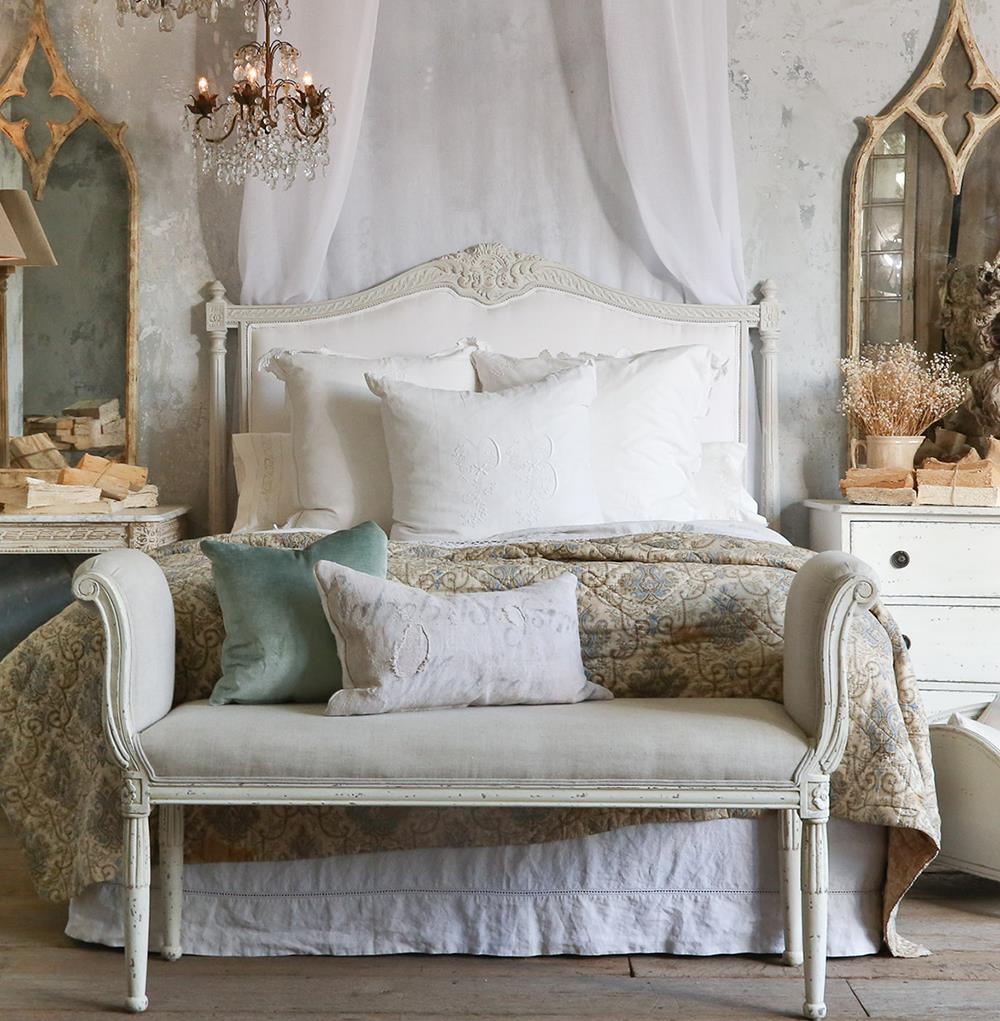 Louis xvi french country white cotton upholstered for French country white