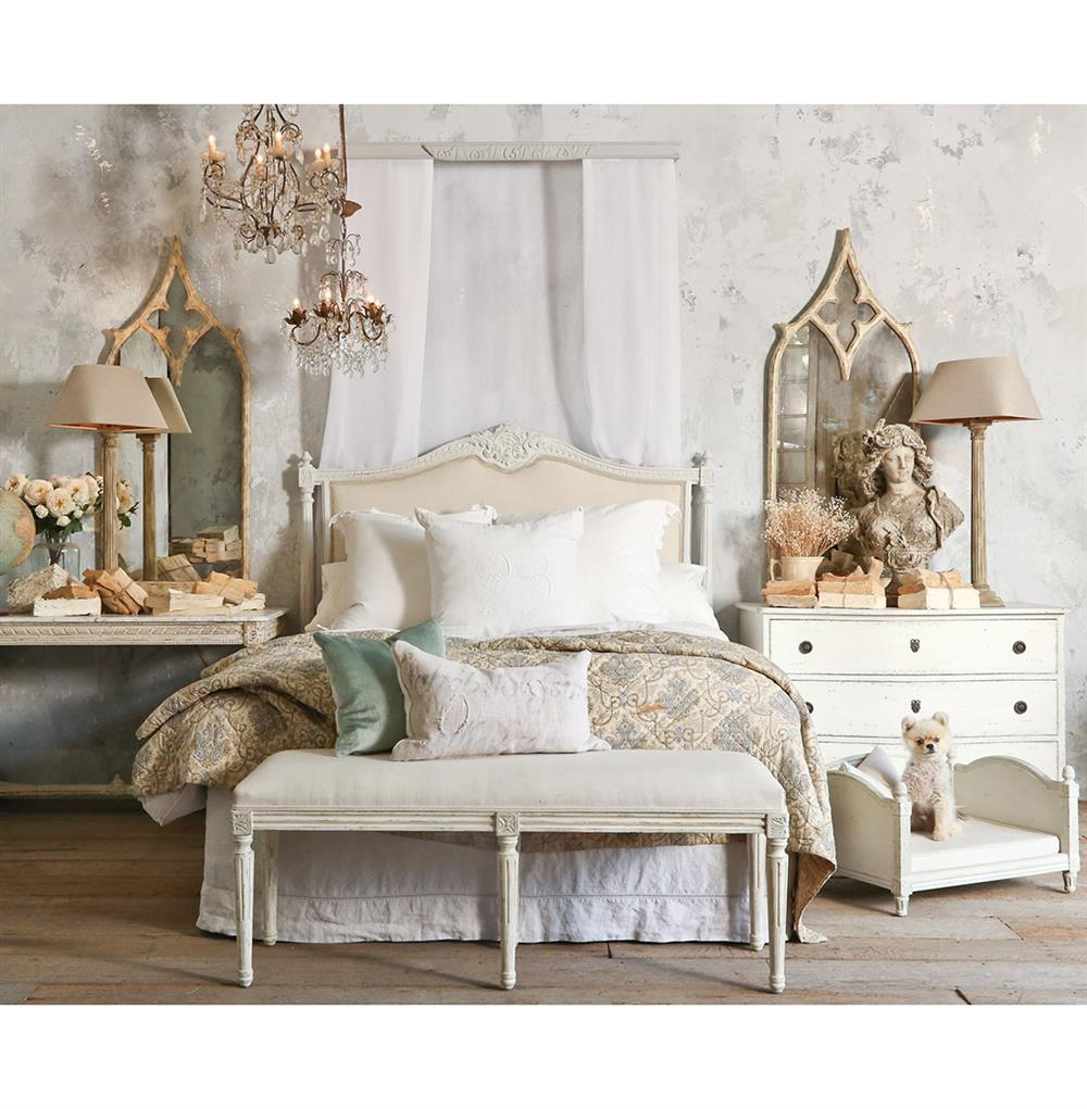 Louis xvi bedroom furniture - Louis Xvi French Country Natural Linen Upholstered Headboard King Kathy Kuo Home