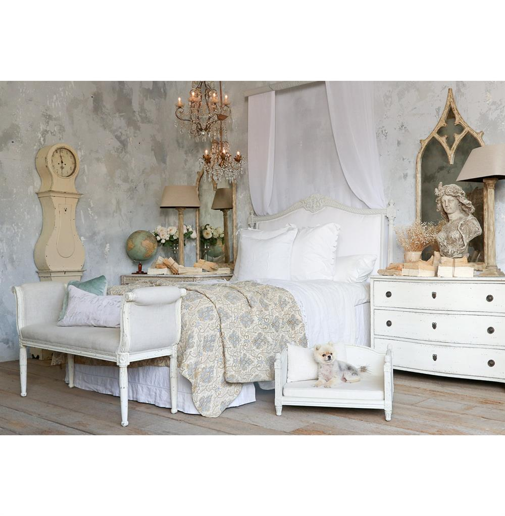Louis xvi bedroom furniture - Louis Xvi French Country White Cotton Upholstered Headboard King Kathy Kuo Home