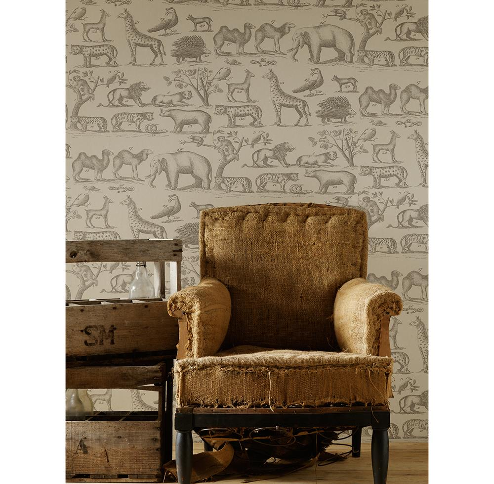 Vintage painted jungle animals wallpaper parchment 2 for Home wallpaper jungle
