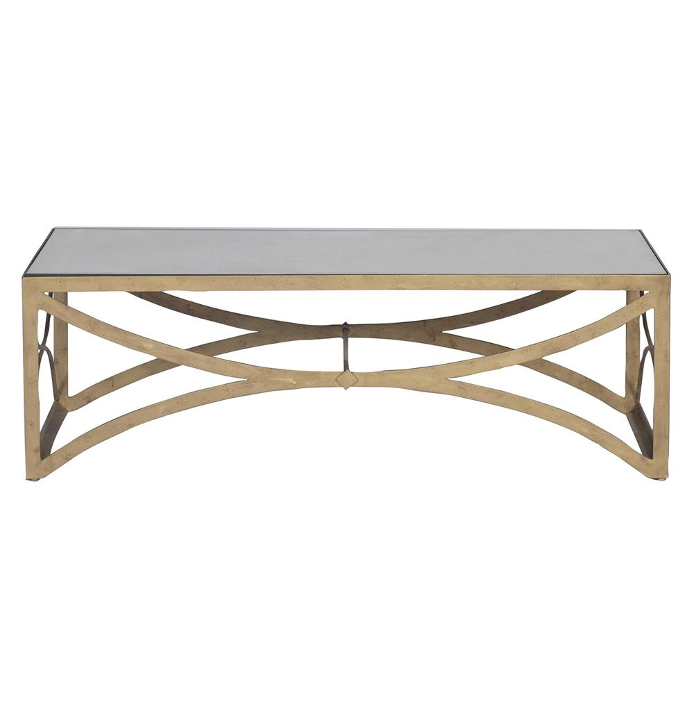 Bernard Hollywood Regency Antique Brass Leaf Mirrored Coffee Table Kathy Kuo Home