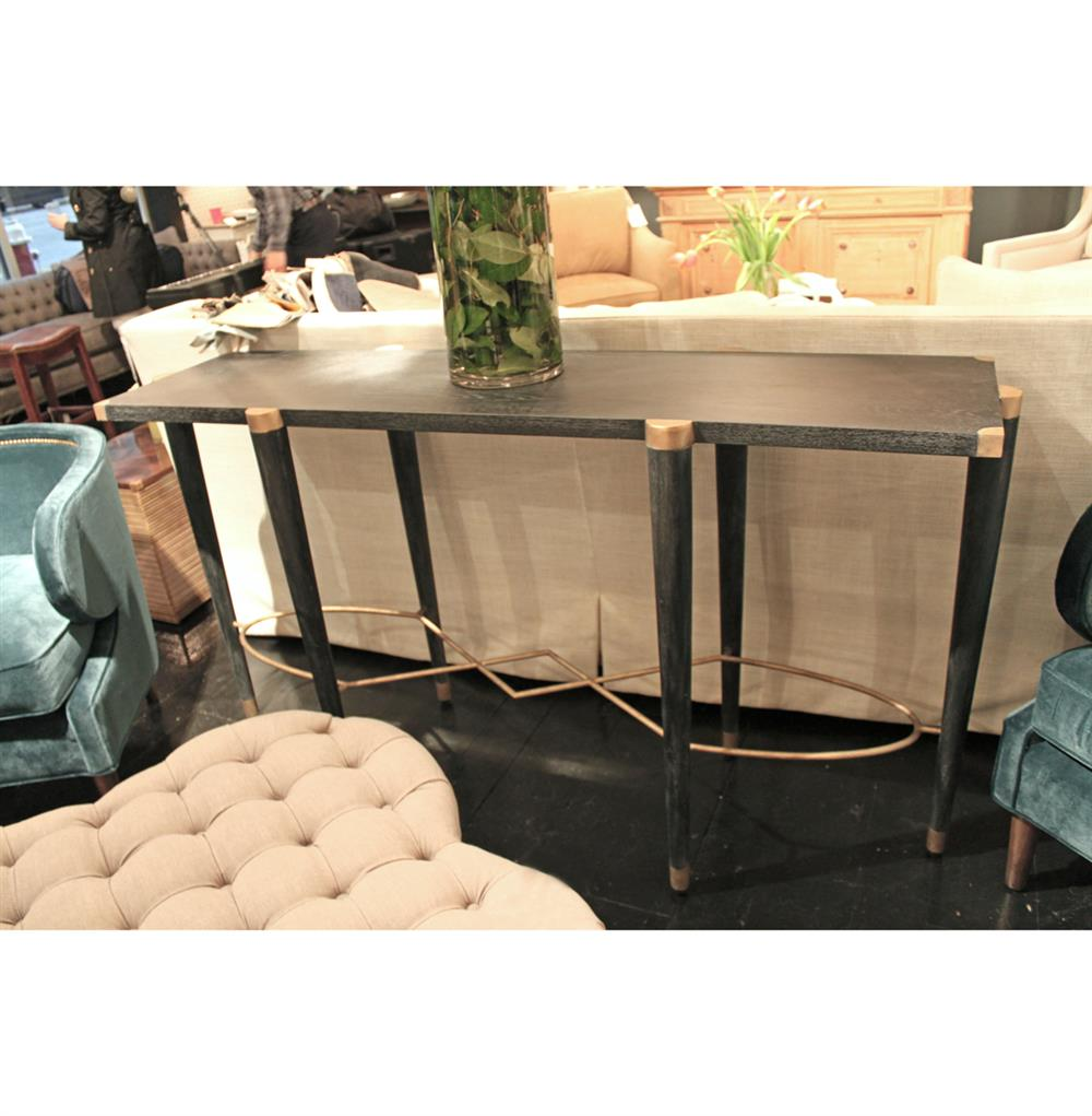 ... Fiona Black Ceruse Hollywood Regency Brass Sofa Console Table | Kathy  Kuo Home ...