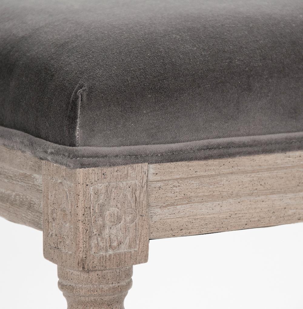 Lille French Country Louis Xvi Grey Velvet Limed Oak Bench