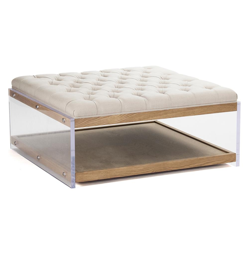 Square Linen Hollywood Regency Wood Acrylic Cocktail Ottoman