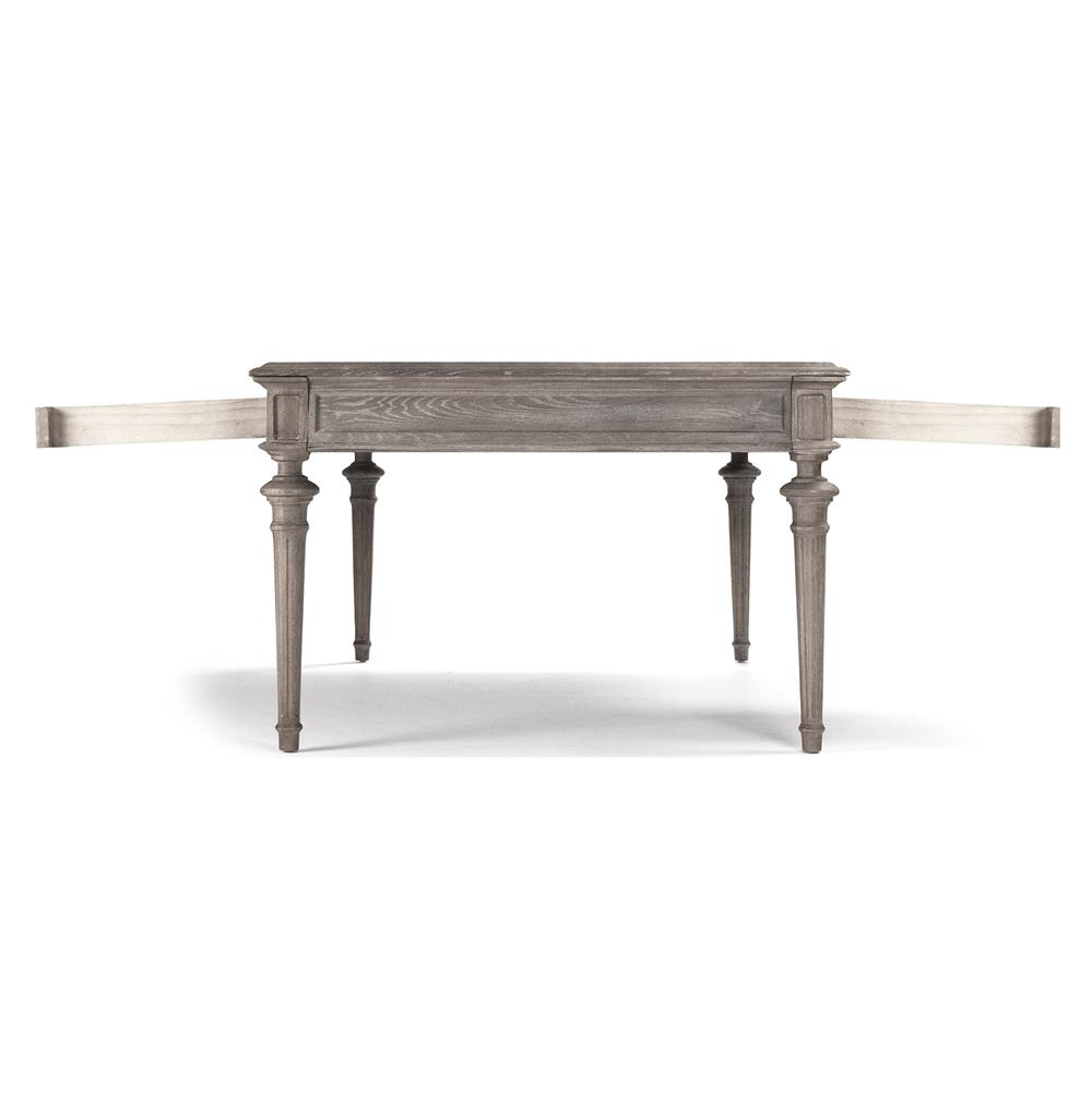 Nadine French Country Limed Grey Partners Desk Dining Table | Kathy Kuo Home