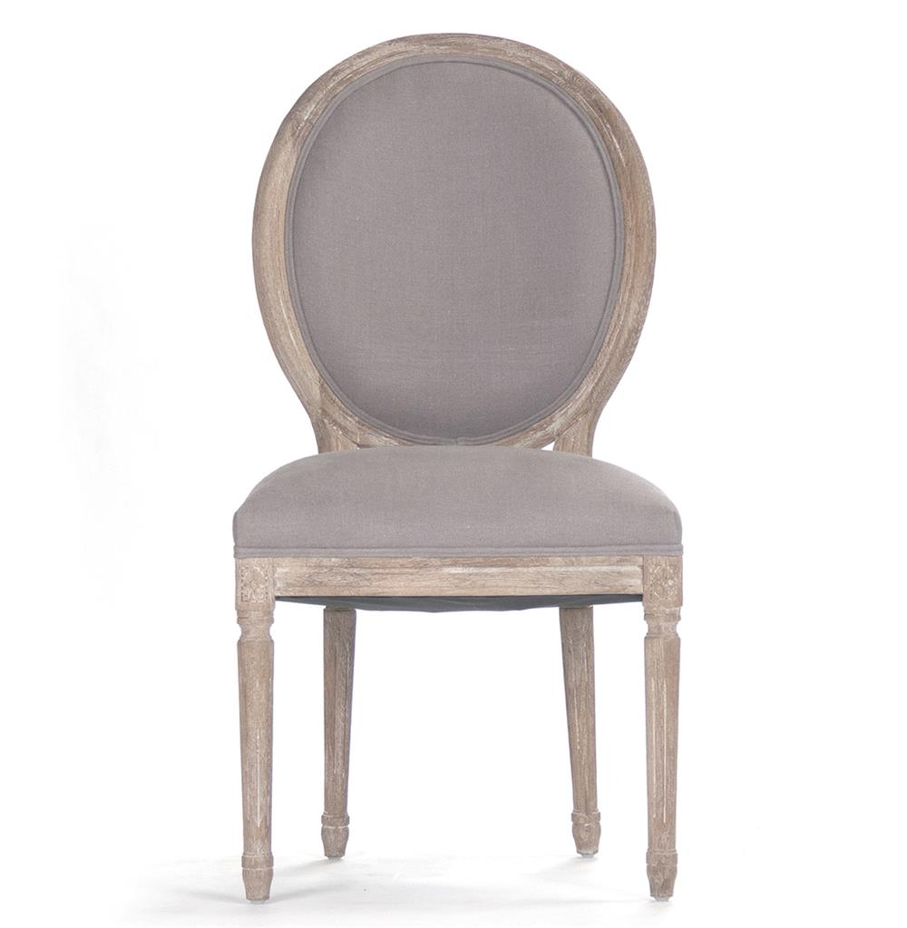 Pair Madeleine French Country Oval Grey Linen Dining Side