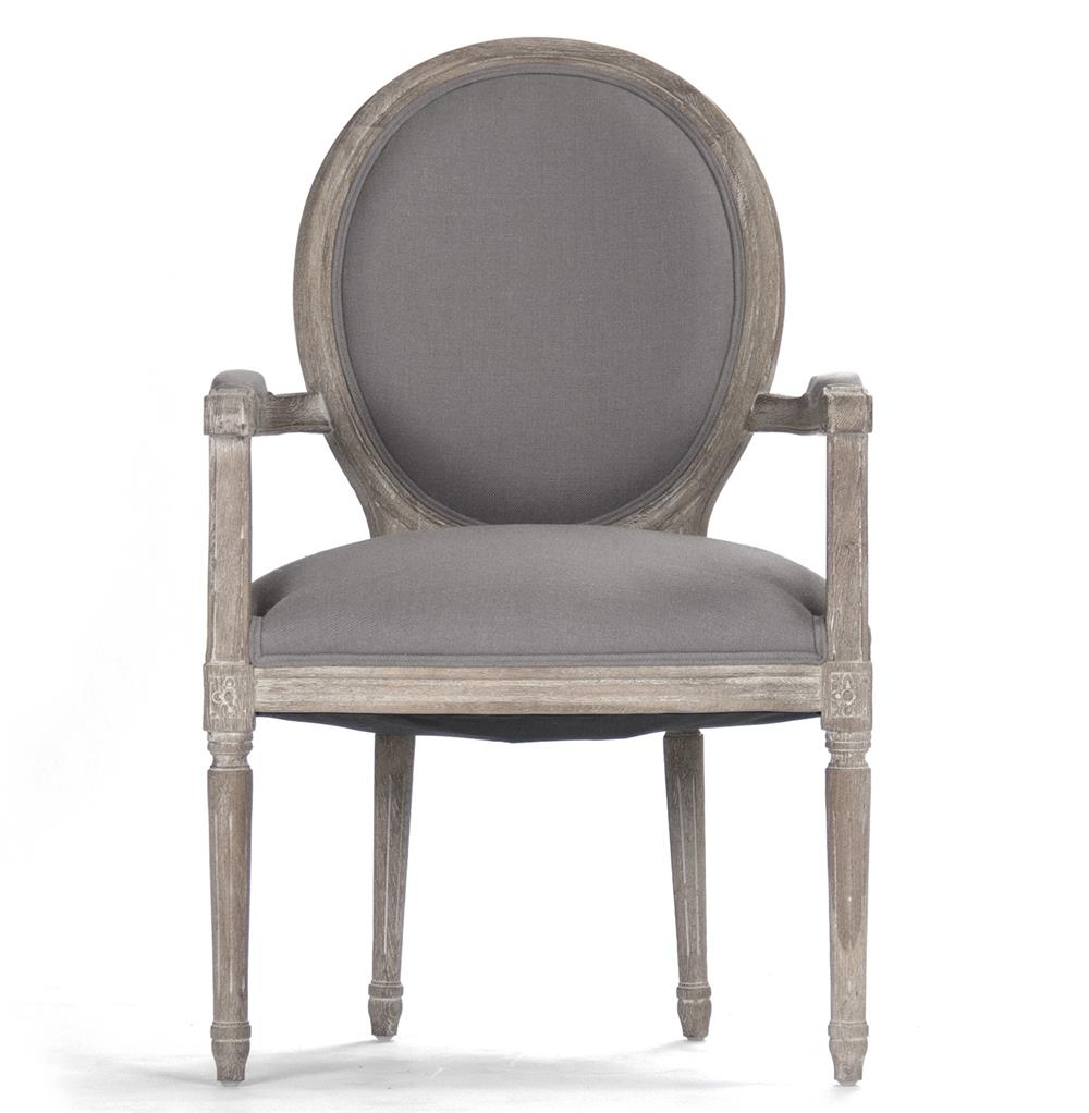 madeleine french country oval grey linen dining arm chair kathy