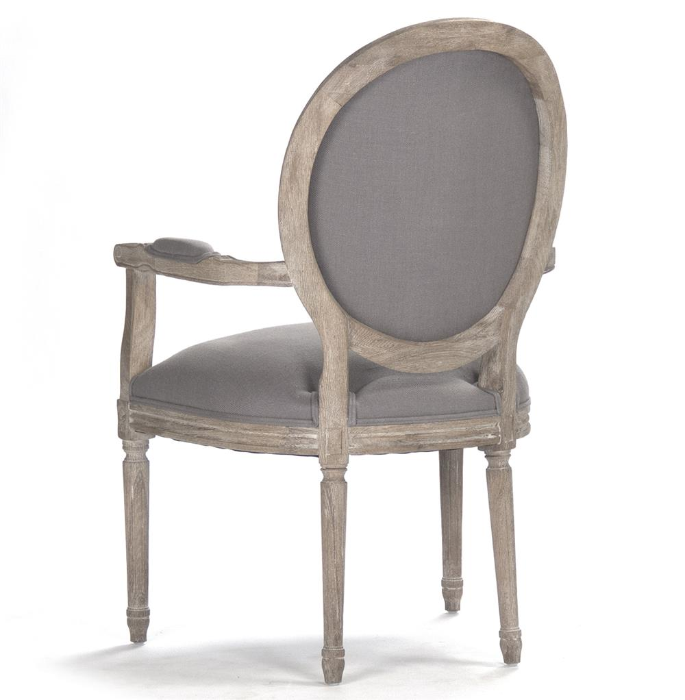 Madeleine french country oval grey linen dining arm chair kathy kuo home