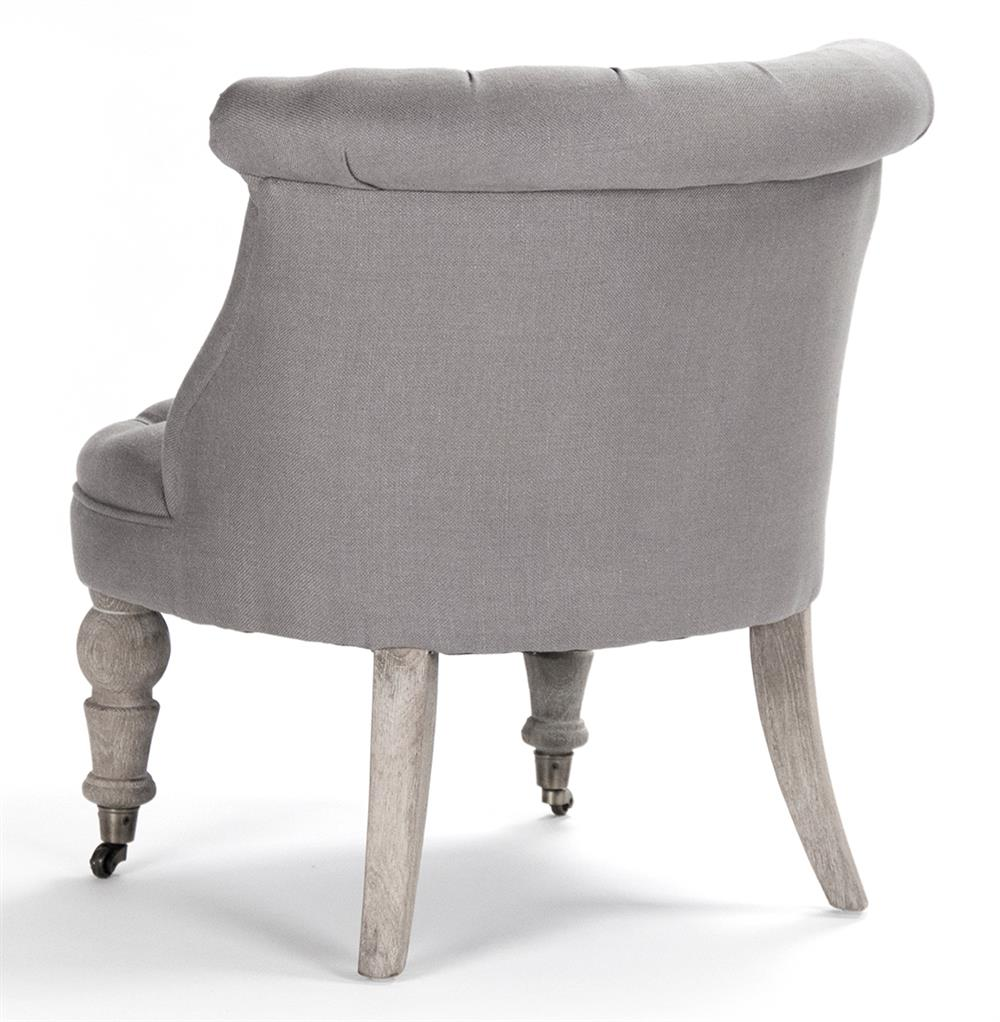 Amelie french country grey linen tufted accent chair Tufted accent chair