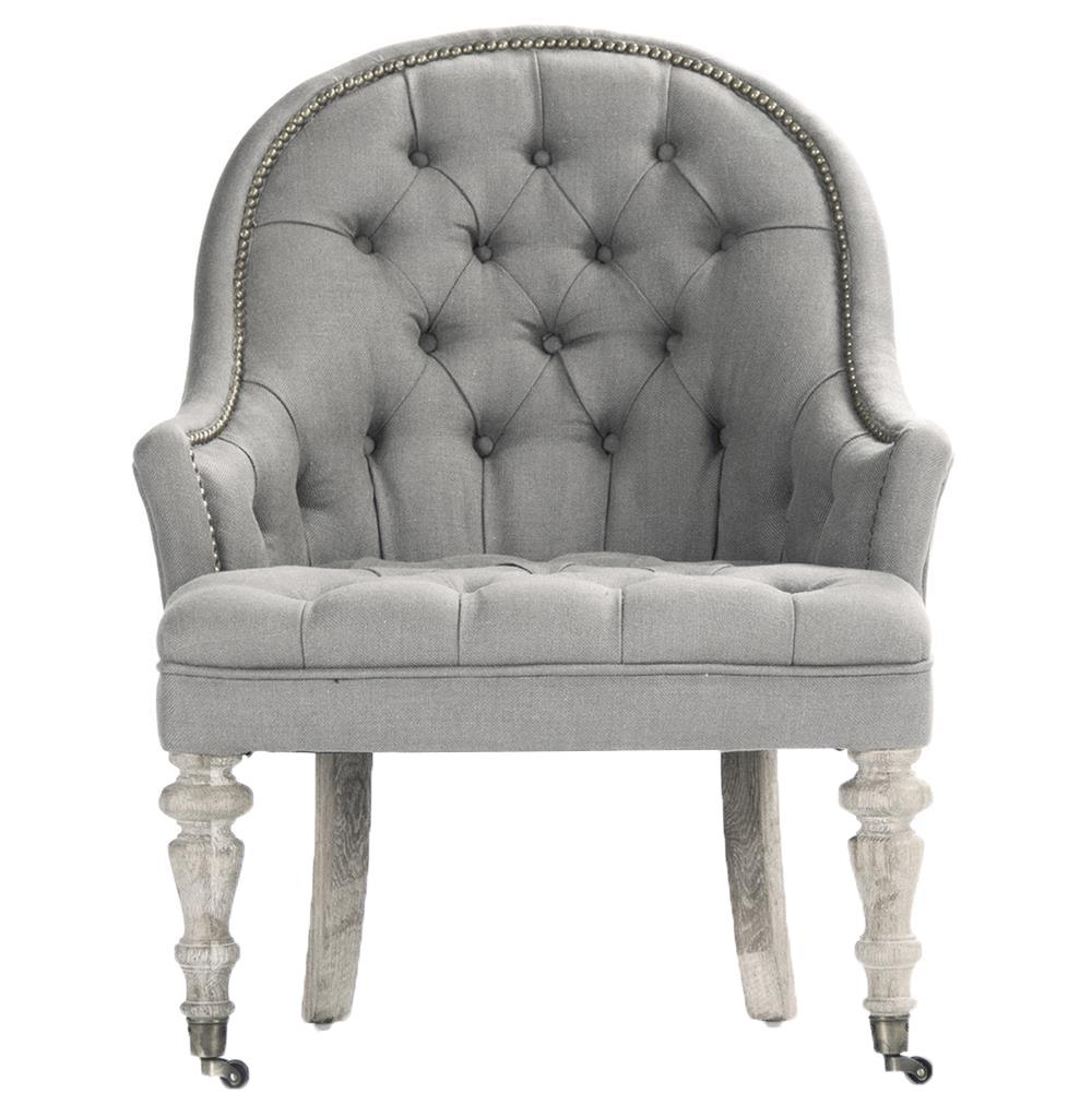 Isolde French Country Grey White Tufted Accent Club Chair
