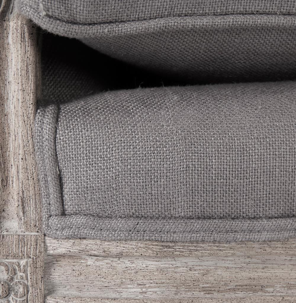 St Germain French Country Limed Oak Louis Xvi Grey Linen Sofa
