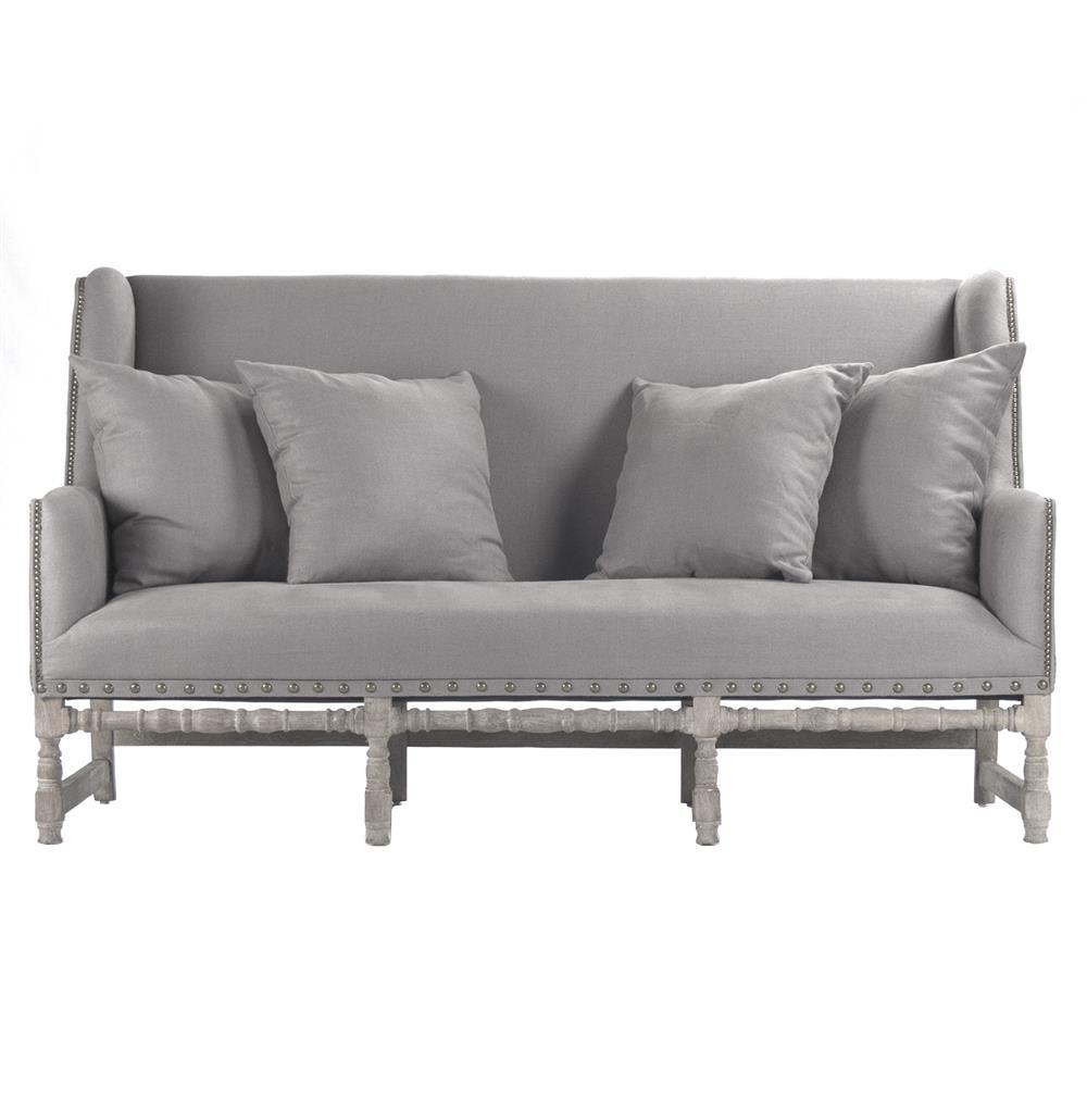Ausbert french country grey linen dining bench sofa kathy kuo home - French country sectional sofas ...