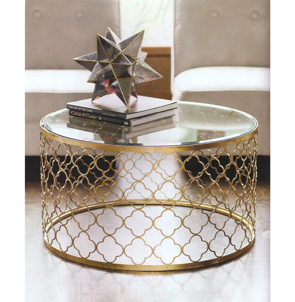 gable hollywood regency glass gold leaf round coffee table | kathy