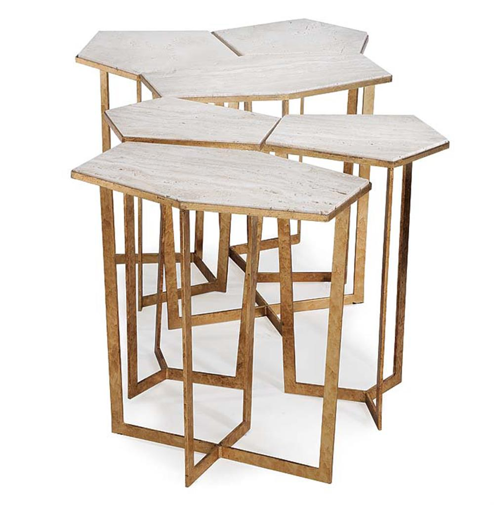 Eastwood Hollywood Regency Travertine Gold Leaf Puzzle Coffee Table Set Of 6 Kathy Kuo Home