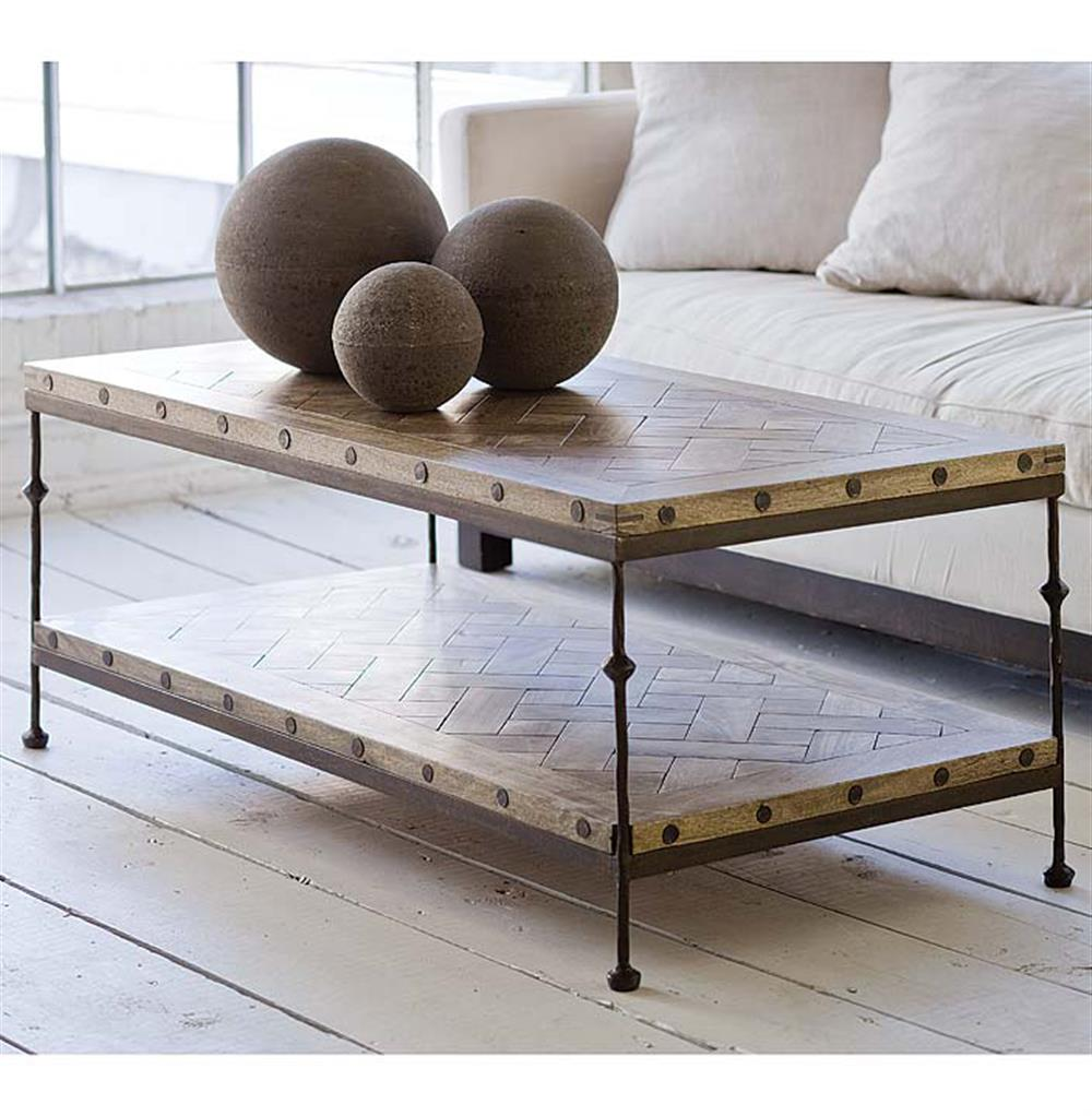 Shays Rustic Mango Wood Parquet Metal Rectangle Coffee Table | Kathy Kuo  Home · View Full Size ...