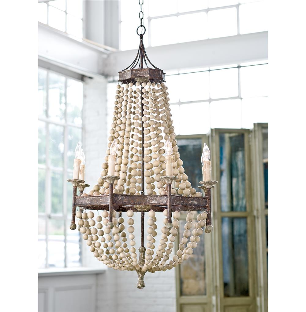 Maroma coastal beach scalloped wood bead metal chandelier kathy view full size mozeypictures Image collections