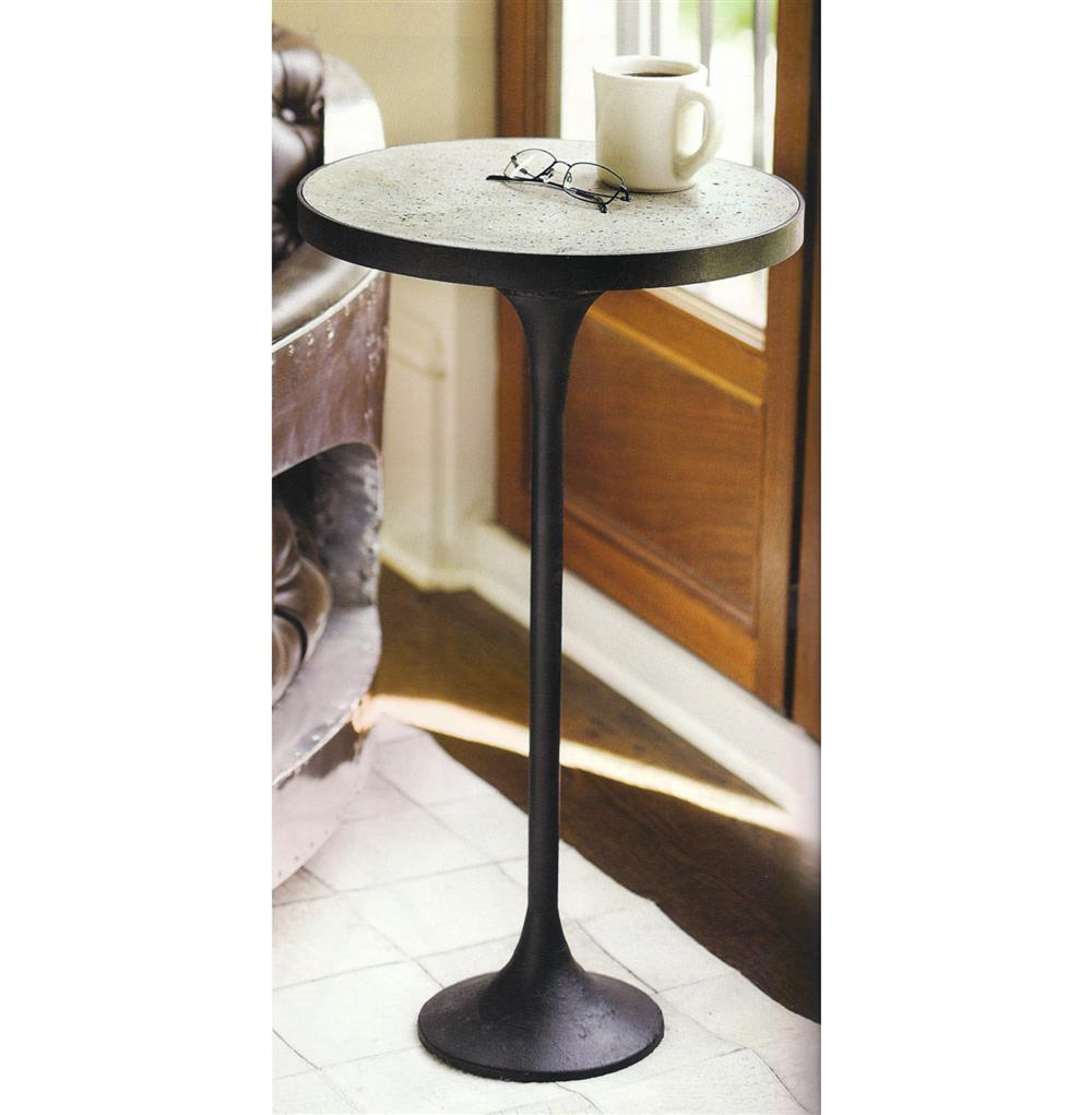 Kagan industrial loft round cast iron drink end table for Cast iron table ends