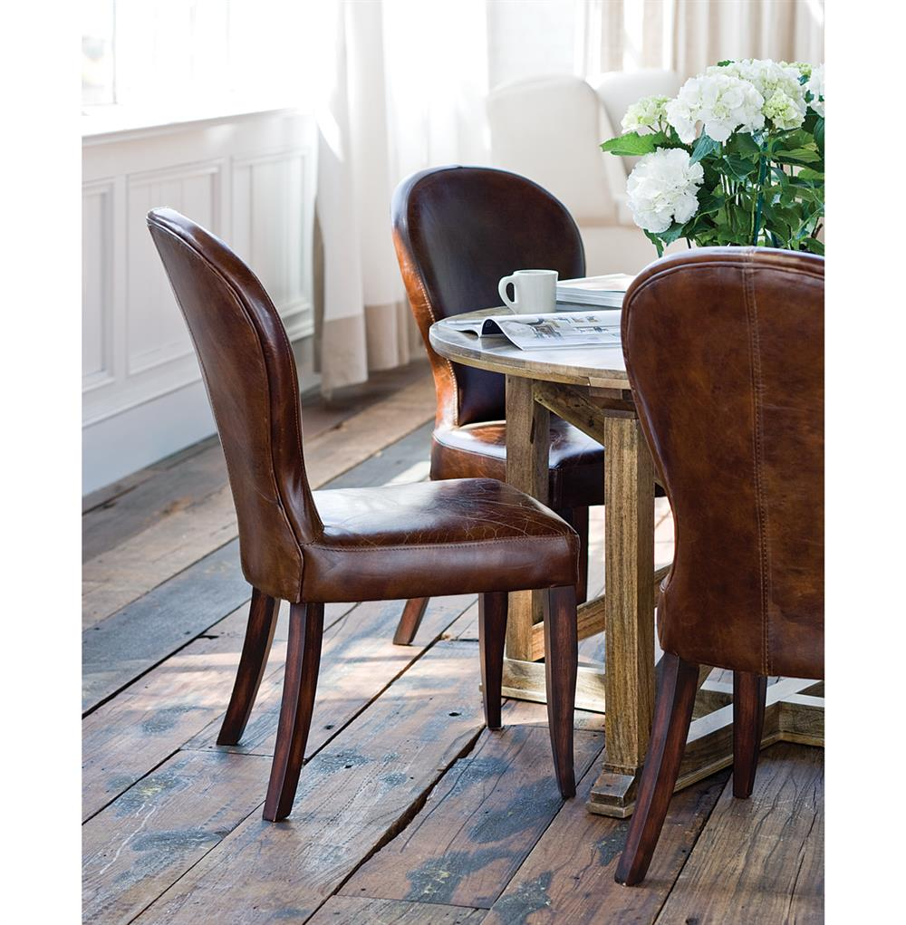 Napoleon Styled Saddle Brown Kitchen Chair: Bunyan Rustic Lodge Brown Leather Upholstered Dining Chair