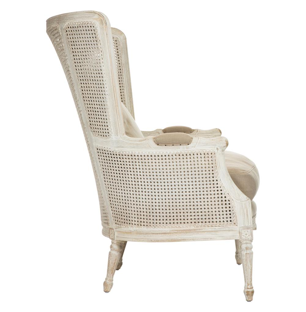 - Archdale French Style Caned Back Antique White Wing Salon Chair