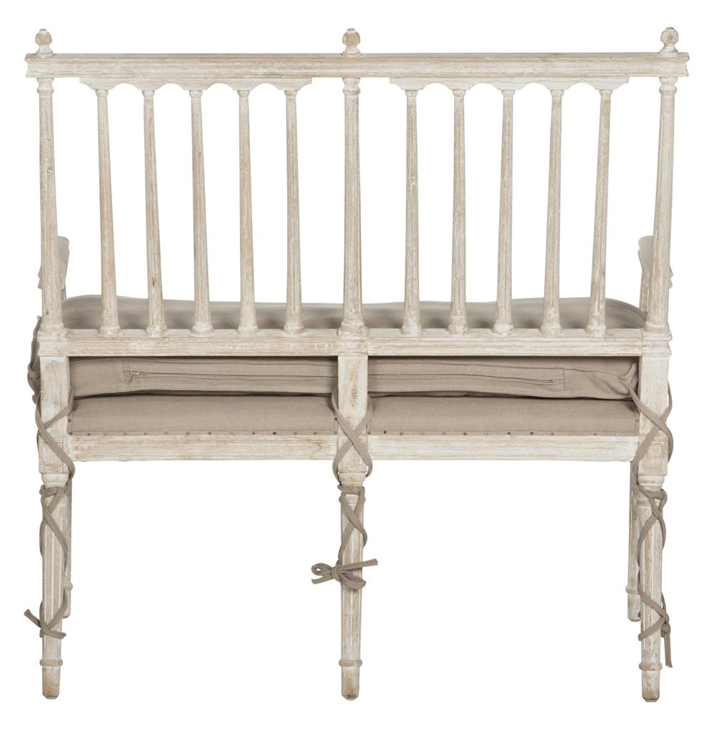 Coyle Shabby French Antique White Settee Dining Bench Kathy Kuo Home
