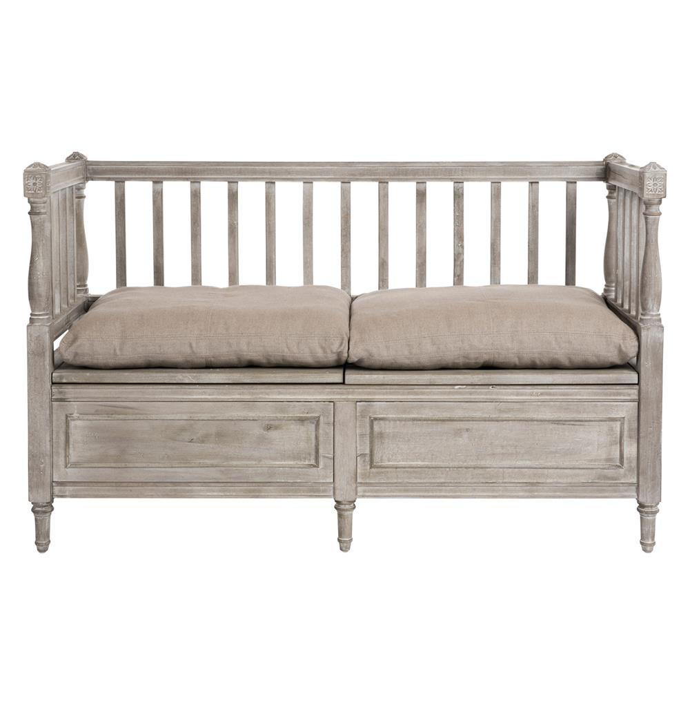 Damita french country weathered grey storage bench sofa kathy kuo home Bench sofa