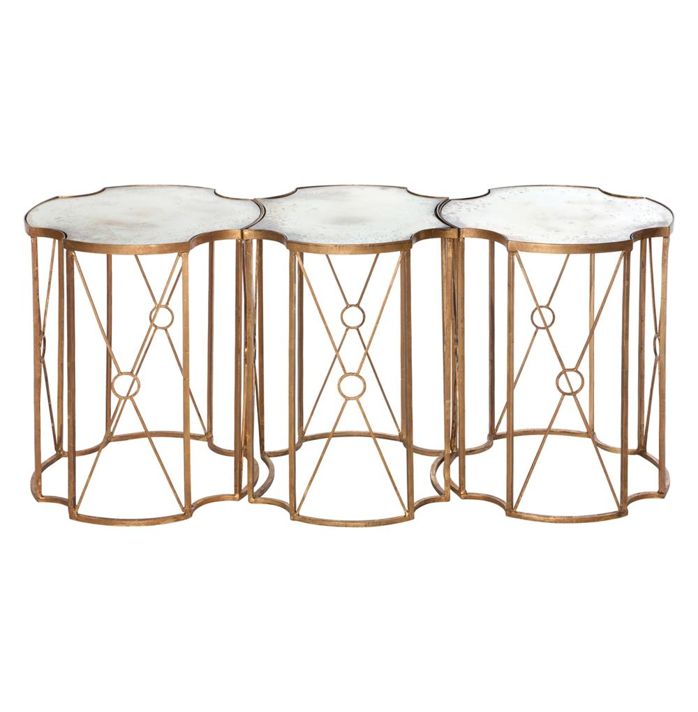 Marlene Hollywood Antique Mirror Bunching Side Tables Set Of 3 Kathy Kuo Home