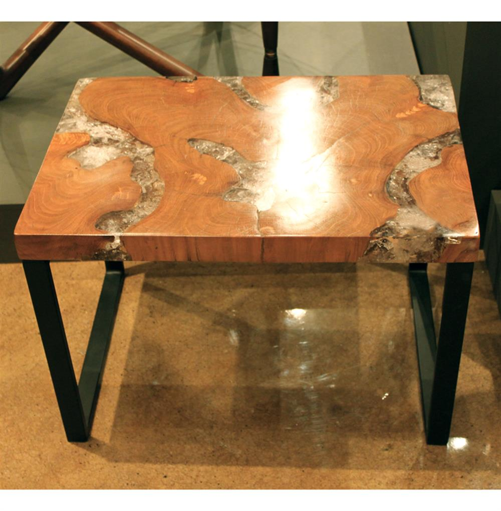 Reclaimed teak wood cracked resin side tables youtube - Molenaar Rustic Lodge Teak Root Resin Rectangle Side Table Kathy Kuo Home View Full Size