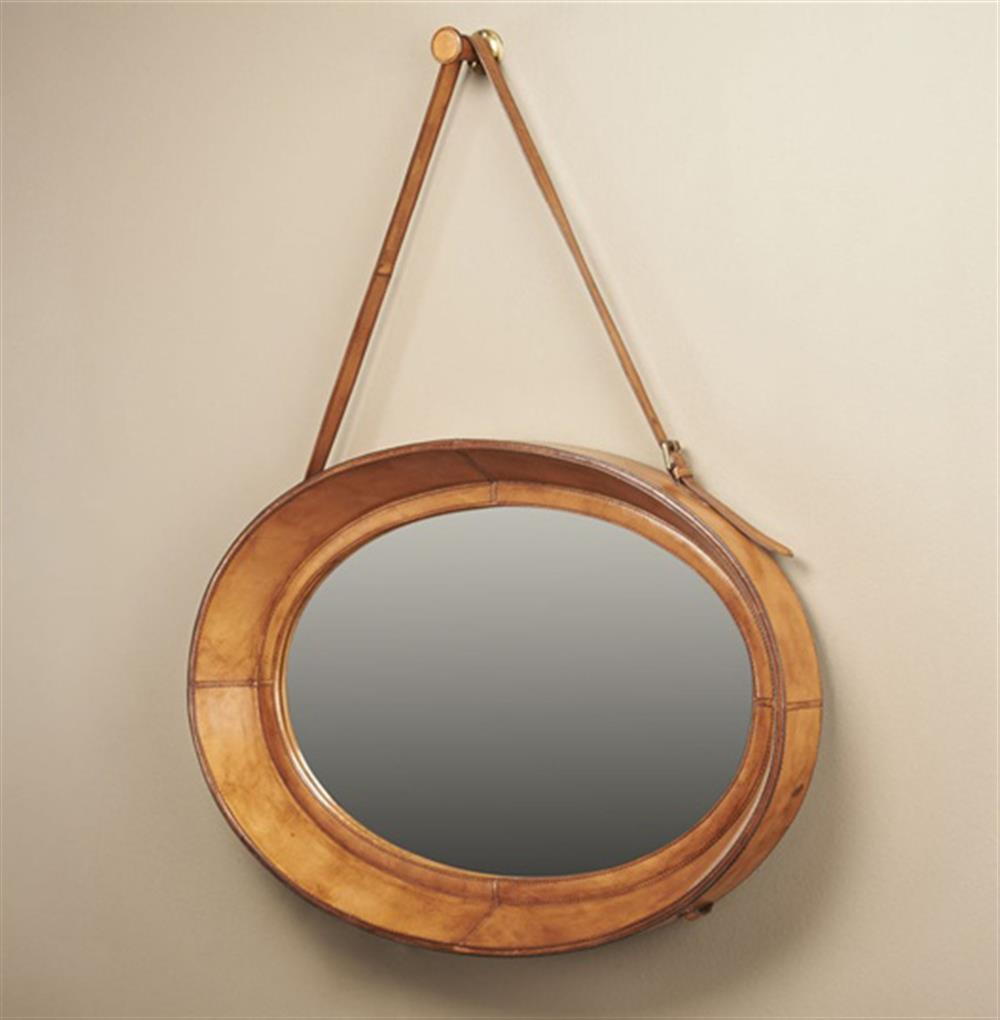 Waddell rustic lodge brown leather oval hanging mirror for Hanging mirror