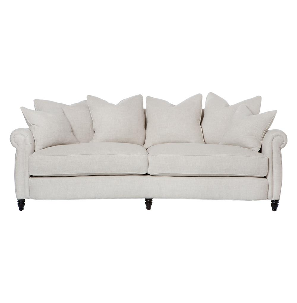 Cortona classic rolled arm feather down oatmeal sofa 90 inch for 90 inch couch
