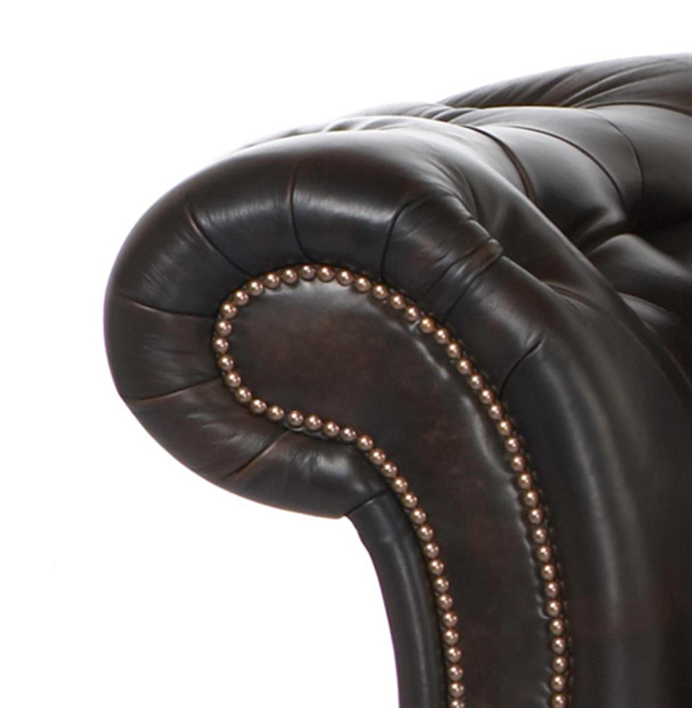 Edith hollywood regency feather down black leather rolled for 90 inch couch