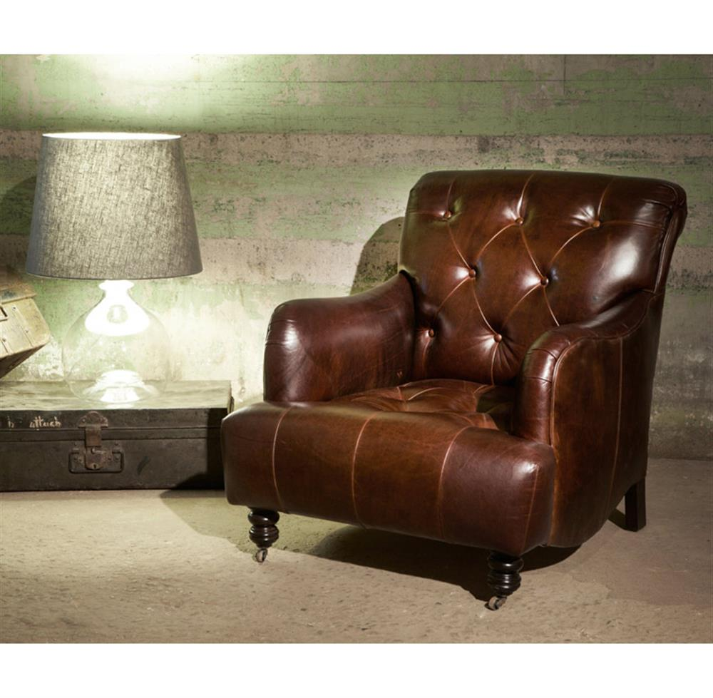 Rustic leather accent chairs - Acacia British Industrial Rustic Leather Large Accent Chair Kathy Kuo Home