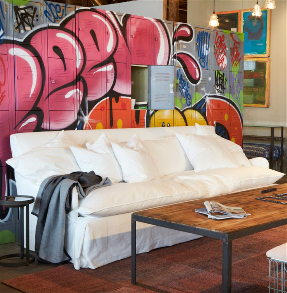 Camden Feather Down Coastal Beach Style Slip Cover Sofa