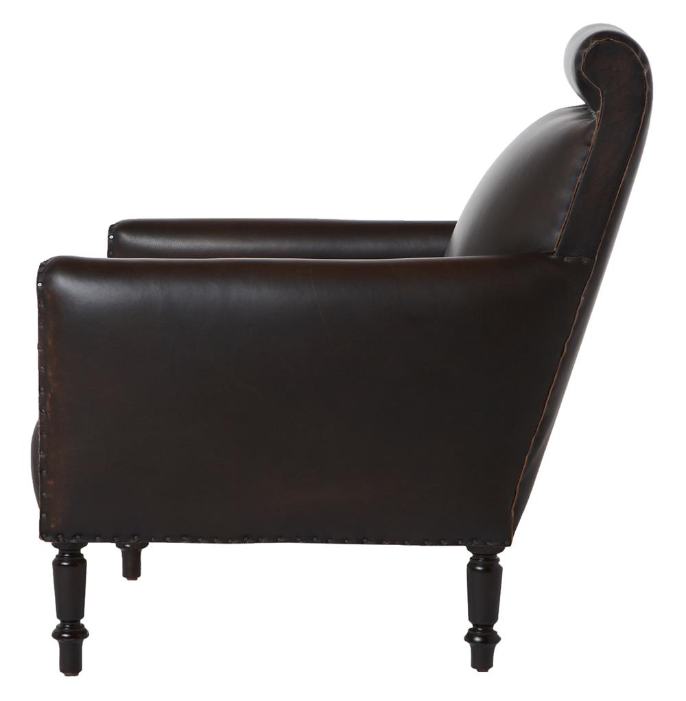 room chairs romero masculine espresso leather library accent chair