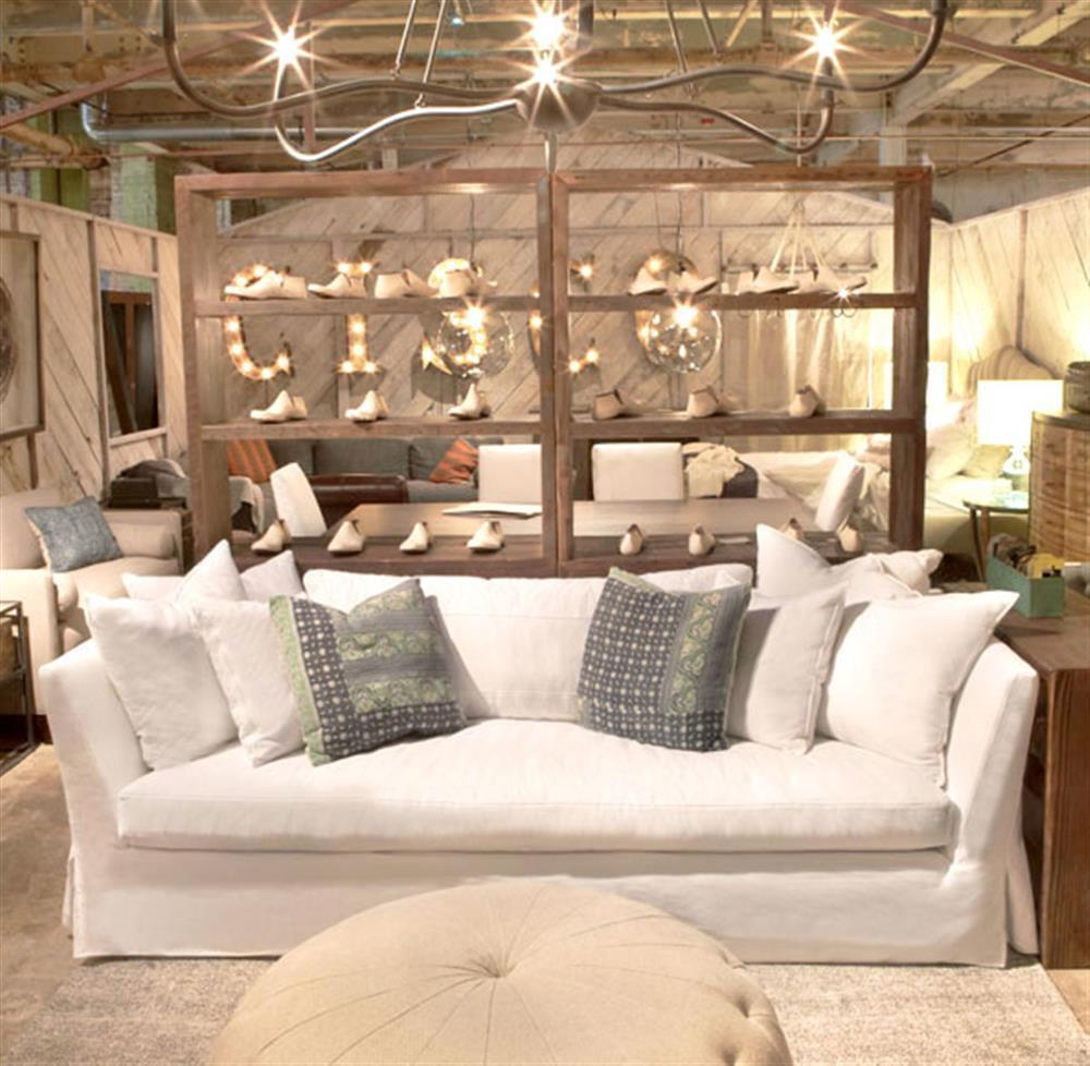 Cisco Brothers Seda Denim White Cotton Coastal Style Feather Down Slip Cover Sofa 84